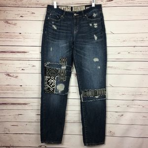 [Rewash] Vintage Reunion Tribal Patchwork Jeans